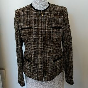 Jones New York black/tan/gold tweed jacket